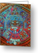 Aztec Calendar Mixed Media Greeting Cards - Sun Stone Greeting Card by Juan Jose Espinoza