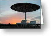 Sun Umbrella Greeting Cards - Sun umbrella and loungers at sunset Greeting Card by Sami Sarkis