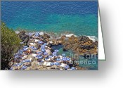 Sunbathing Trees Greeting Cards - Sun Umbrellas in Capri  Greeting Card by Andreas Jancso