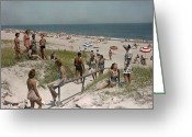 Atlantic Beaches Greeting Cards - Sunbathers And Beach Umbrellas Dot Greeting Card by Willard Culver