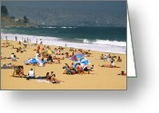 Sun Umbrella Greeting Cards - Sunbathers Greeting Card by David Frazier and Photo Researchers