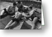Cigarette Holder Greeting Cards - Sunbathing Games Greeting Card by Fox Photos