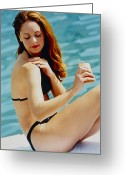 Womanly Greeting Cards - Sunbathing Greeting Card by Mauro Fermariello