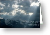 Peak One Greeting Cards - Sunbeams playing over the Barre des Ecrins and La Meije mountains in the French Alps Greeting Card by Sami Sarkis