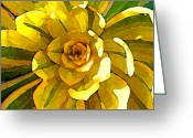 Cactus Flower Digital Art Greeting Cards - Sunburst Greeting Card by Amy Vangsgard