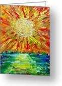 Carolinestreet Greeting Cards - Sunburst Greeting Card by Caroline Street