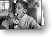 Children Ice Cream Greeting Cards - Sundae Break Greeting Card by Three Lions