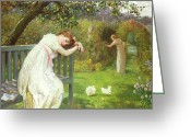 Trouble Greeting Cards - Sunday Afternoon - Ladies in a Garden Greeting Card by English School