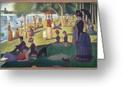Sunday Greeting Cards - Sunday Afternoon on the Island of La Grande Jatte Greeting Card by Georges Pierre Seurat