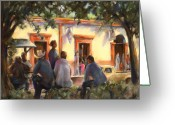 Colonial Scene Greeting Cards - Sunday at the Alameda Greeting Card by Joan  Jones