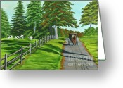 Split Rail Fence Painting Greeting Cards - Sunday Drive Greeting Card by Charlotte Blanchard