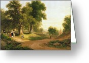 Sunday Greeting Cards - Sunday Morning Greeting Card by Asher Brown Durand
