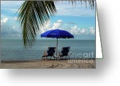Beach Scene Greeting Cards - Sunday Morning at the Beach in Key West Greeting Card by Susanne Van Hulst