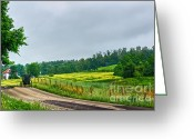 Amish Farms Greeting Cards - Sunday Morning Greeting Card by Jak of Arts Photography