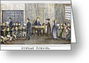 Schoolgirl Photo Greeting Cards - Sunday School, 1832 Greeting Card by Granger