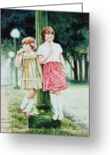 Portraits Greeting Cards - Sunday Treat Greeting Card by Hanne Lore Koehler