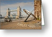 City Hall Digital Art Greeting Cards - Sundial at Tower Bridge Greeting Card by Donald Davis