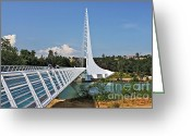Sacramento River Greeting Cards - Sundial Bridge - Sit and watch how time passes by Greeting Card by Christine Till