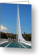 Sacramento River Greeting Cards - Sundial bridge - This bridge is a glass-and-steel sculpture Greeting Card by Christine Till