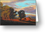 Landscape Painter Greeting Cards - Sundown on the Ranch Greeting Card by Gina Grundemann