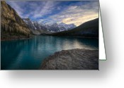 Canadian Rockies Greeting Cards - Sundown On the Rocks Greeting Card by Royce Howland