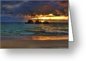 Ocean Beach Greeting Cards - Sundown Greeting Card by Ryan Wyckoff