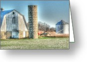 Silo Greeting Cards - Sundown shadow Greeting Card by David Bearden
