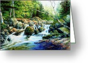 Canadian Landscape Greeting Cards - Sunfish Creek Greeting Card by Hanne Lore Koehler