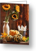 Candles Greeting Cards - Sunflower and Gourds Still Life Greeting Card by Christopher Elwell and Amanda Haselock
