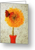 Texture Flower Greeting Cards - Sunflower and red butterfly Greeting Card by Garry Gay