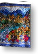 Mountain Tapestries - Textiles Greeting Cards - Sunflower and Stars  Greeting Card by Sarah Hornsby