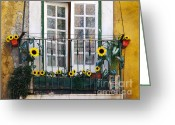 Peeling Greeting Cards - Sunflower balcony Greeting Card by Carlos Caetano