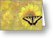 Photography Painting Greeting Cards - Sunflower Butterfly Yellow Gold Greeting Card by JQ Licensing