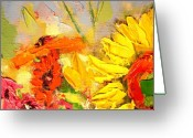 Vermillon Greeting Cards - Sunflower Detail Greeting Card by Ana Maria Edulescu