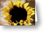 Digitalized Greeting Cards - Sunflower Face Greeting Card by Marsha Heiken