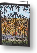 Blooming Tapestries - Textiles Greeting Cards - Sunflower Garden Gate Greeting Card by Sarah Hornsby