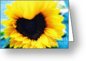 Texture Flower Greeting Cards - Sunflower in heart shape Greeting Card by Kristin Kreet