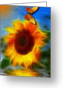 Smudgeart Greeting Cards - Sunflower Greeting Card by Madeline M Allen