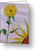 Silver Moonlight Greeting Cards - Sunflower Greeting Card by Mark Moore