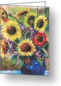 Floral Pastels Greeting Cards - Sunflower Medley Greeting Card by Grace Goodson