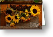 Vine Mixed Media Greeting Cards - Sunflower Mixed Media 2 Greeting Card by Marjorie Imbeau
