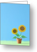 Sunflower Studio Art Greeting Cards - Sunflower Model Made ??of Paper Greeting Card by Yagi Studio