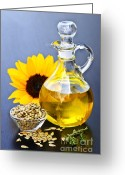 Stopper Greeting Cards - Sunflower oil bottle Greeting Card by Elena Elisseeva