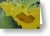 Sunflower Studio Art Greeting Cards - Sunflower Original Oil Painting Colorful Bright Sunflowers Art Greeting Card by K Joann Russell