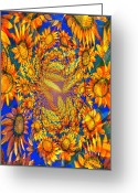 Aflame Greeting Cards - Sunflowers Aflame Greeting Card by Kathleen Othon