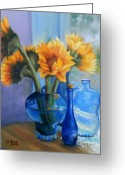 Vases Greeting Cards - Sunflowers and Blue Bottles Greeting Card by Marlene Book