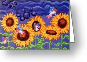 Esson Greeting Cards - Sunflowers and Faeries Greeting Card by Genevieve Esson