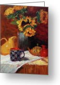 Pitcher Painting Greeting Cards - Sunflowers and Undersea Vase Greeting Card by Jeanne Young