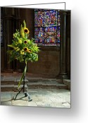 Williams Greeting Cards - Sunflowers Canterbury Cathedral Greeting Card by Donald Davis