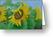 Sunflower Studio Art Greeting Cards - Sunflowers Colorful Original Sunflower Art Oil Painting  Greeting Card by K Joann Russell
